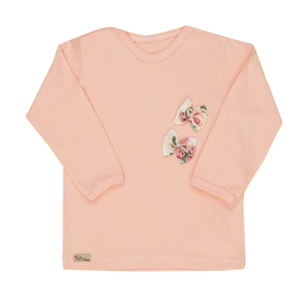Camiseta Manga Longa Lisa Laços Floral