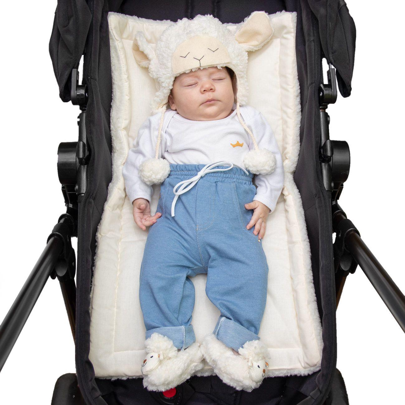 Colchonete Acolchoado para Carrinho e Bebê Conforto 2 em 1 Percal 180 Fios Azul e Sherpa Palha