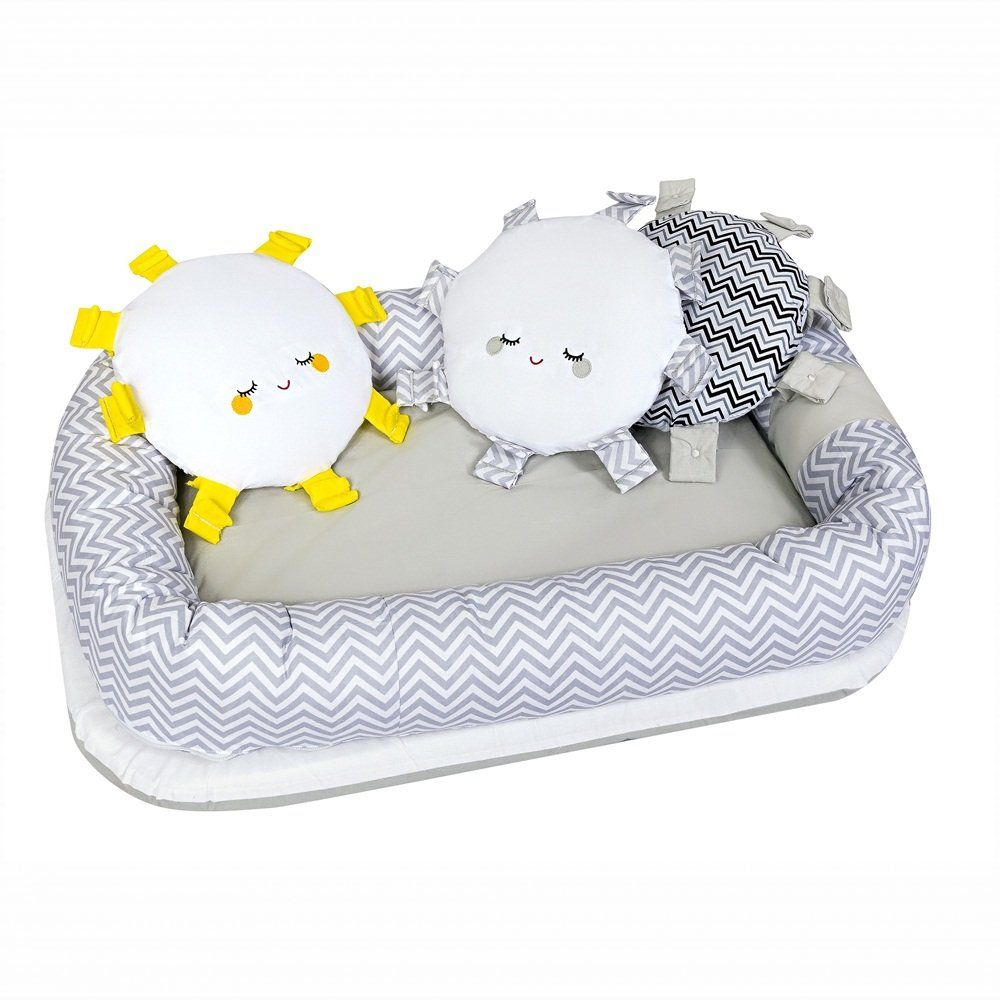 Berço Portátil Ninho Redutor para Bebê com Travesseiro Chevron Cinza e Branco