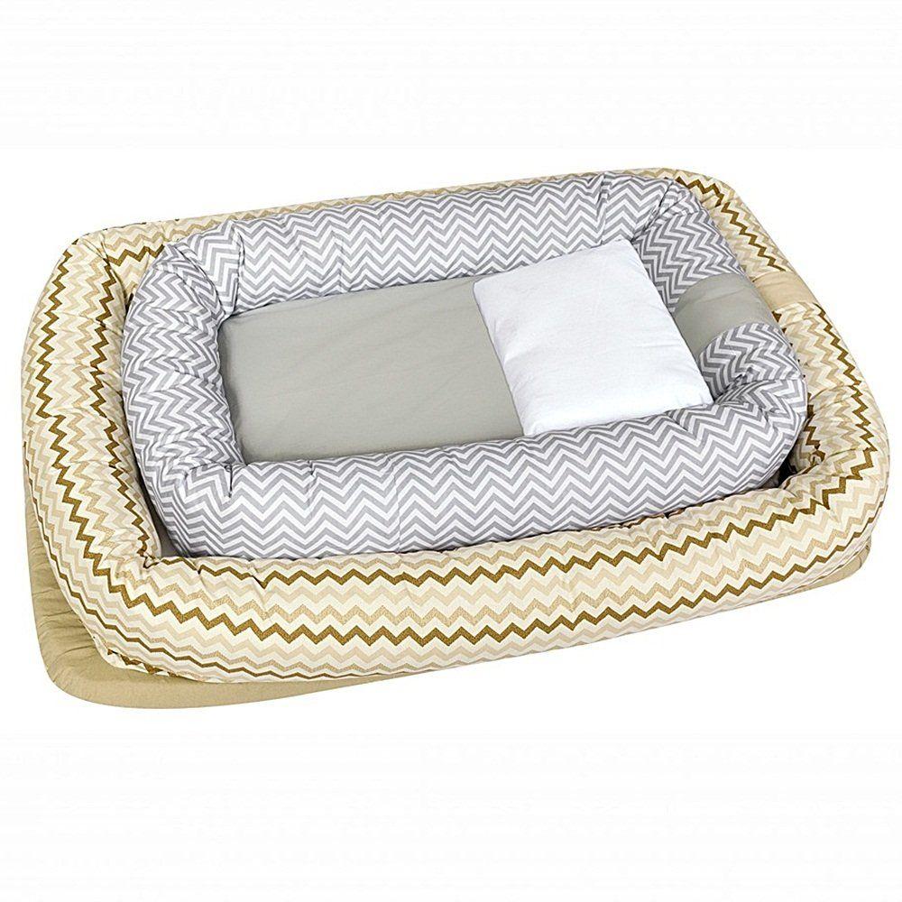 Berço Portátil Ninho Redutor para Bebê com Travesseiro Chevron Marrom e Bege