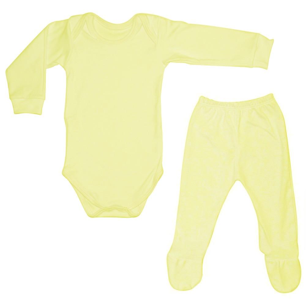 Conjunto Body Manga Longa e Mijão Amarelo Liso - Shopping do Bebê ... 08aa5d65993ff