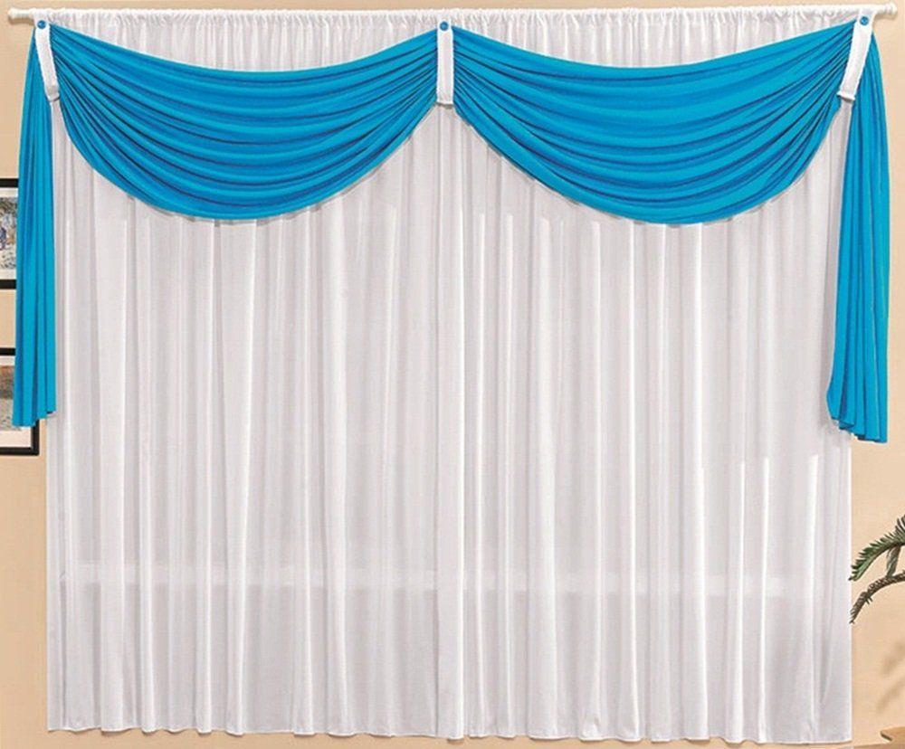 Cortina Malha Branca com Bandô Azul 3,00 x 1,70 para Varão Simples 2,00 Metros