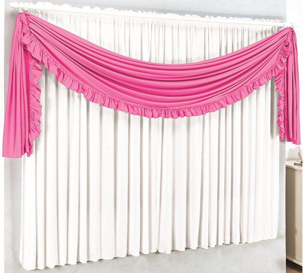 Cortina Malha Branca com Bandô Babado Pink 3,00 x 1,70 para Varão Simples 2,00 Metros