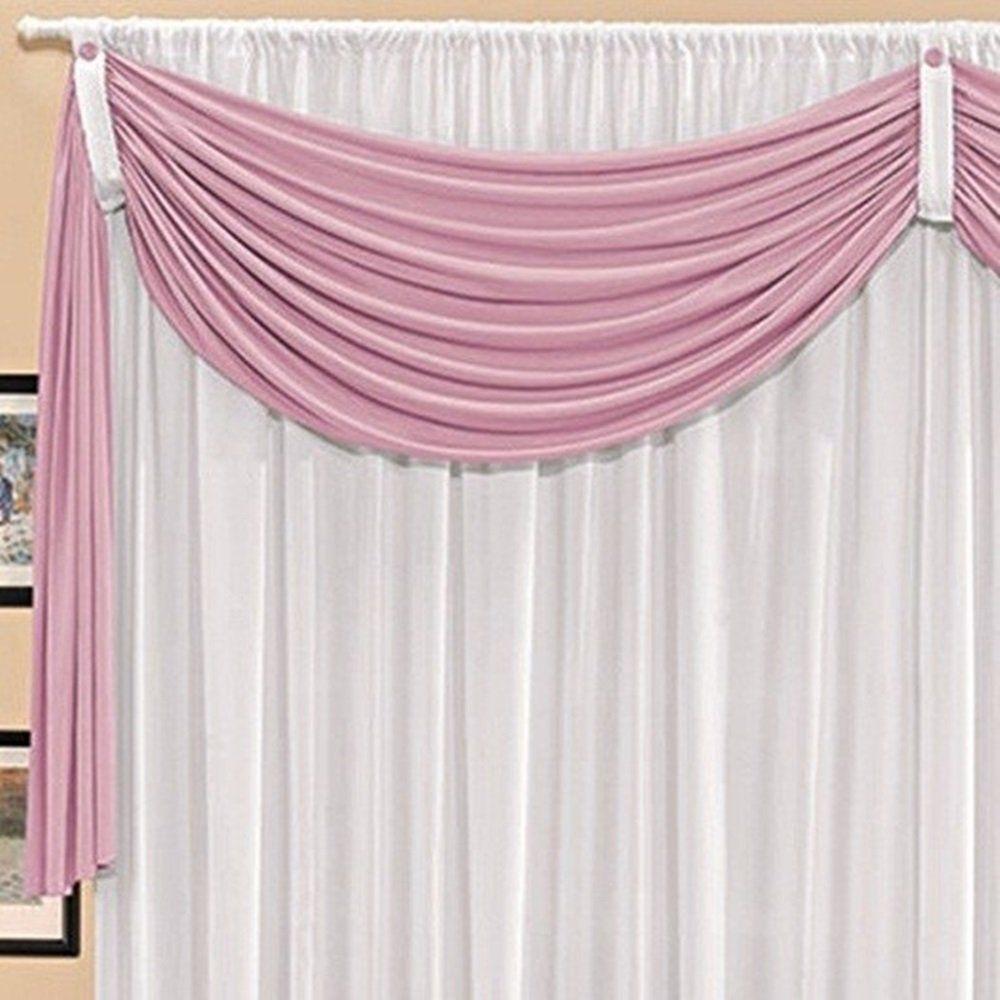 Cortina Malha Branca com Bandô Rosa 3,00 x 1,70 para Varão Simples 2,00 Metros