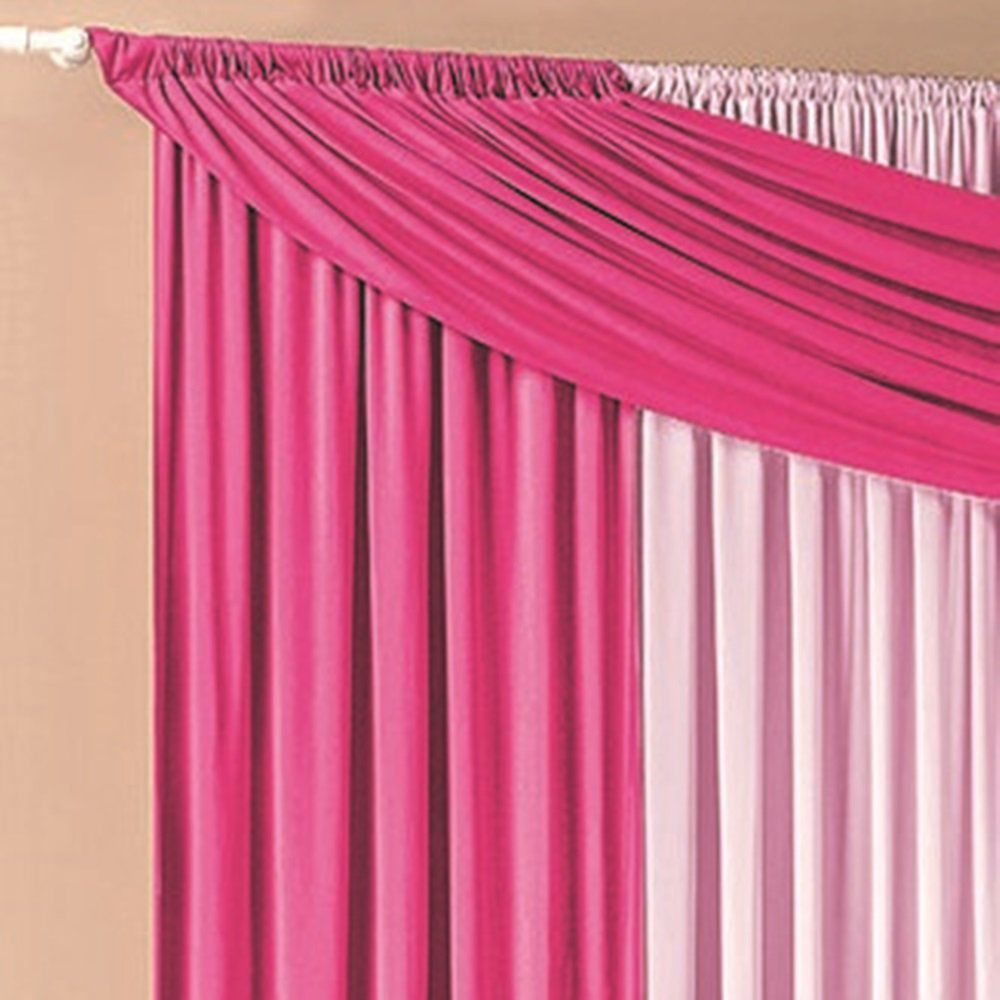 Cortina Malha com Bandô Pink e Rosa 3,00 x 1,70 para Varão Simples 2,00 Metros