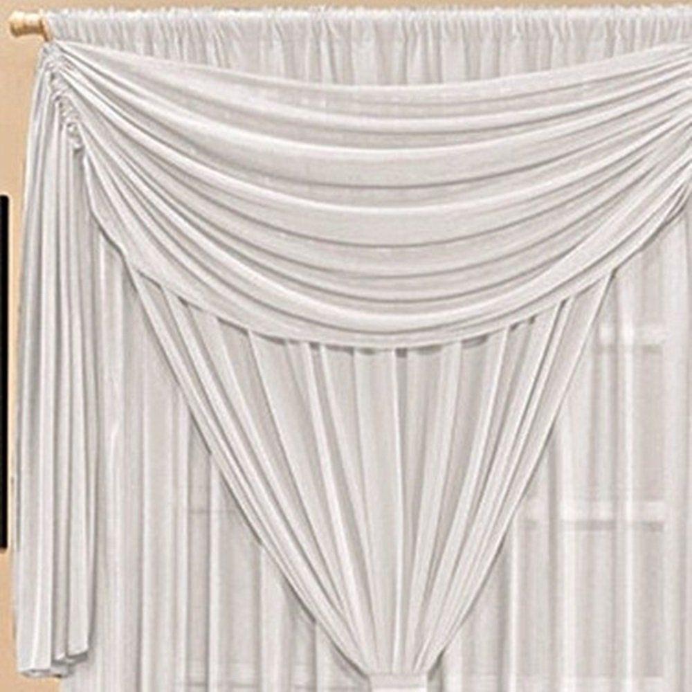 Cortina Malha Três Camadas com Bandô Branca 3,00 x 1,70 para Varão Simples 2,00 Metros