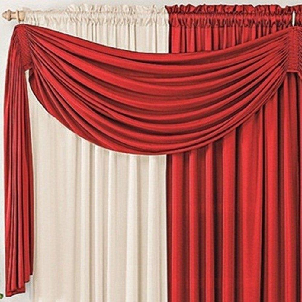 Cortina Malha Vermelha e Palha com Bandô Vermelho 3,00 x 1,70 para Varão Simples 2,00 Metros