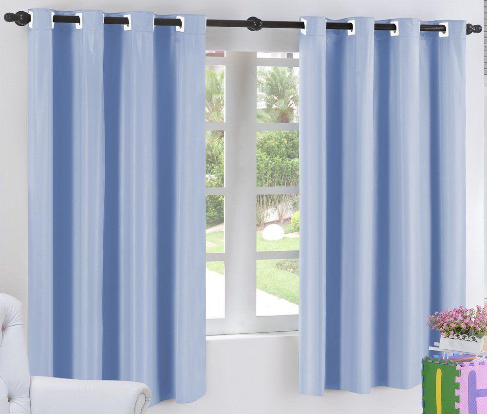 Cortina Blackout Corta Luz PVC (Plástico) Azul 2,80 x 2,30 para Varão Simples 2,00 Metros