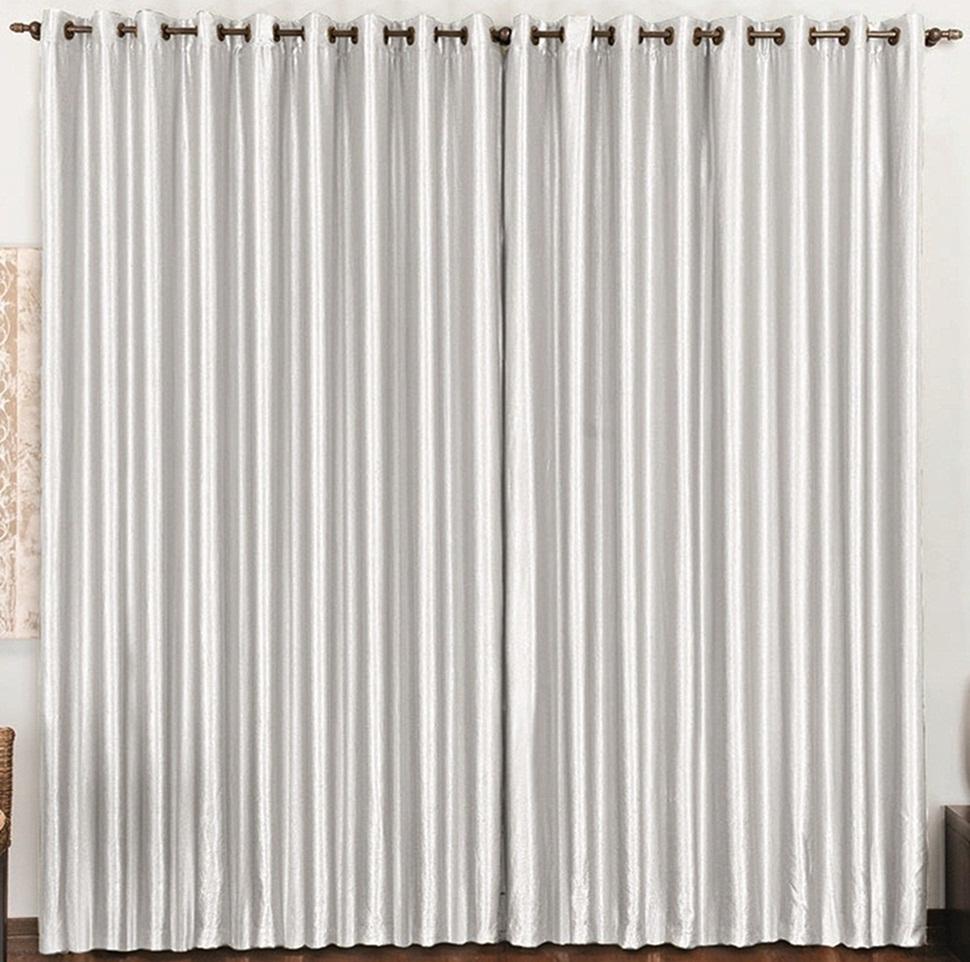 Cortina Cetim Amassado Branco 2,80 x 1,70 para Varão Simples 2,00 Metros