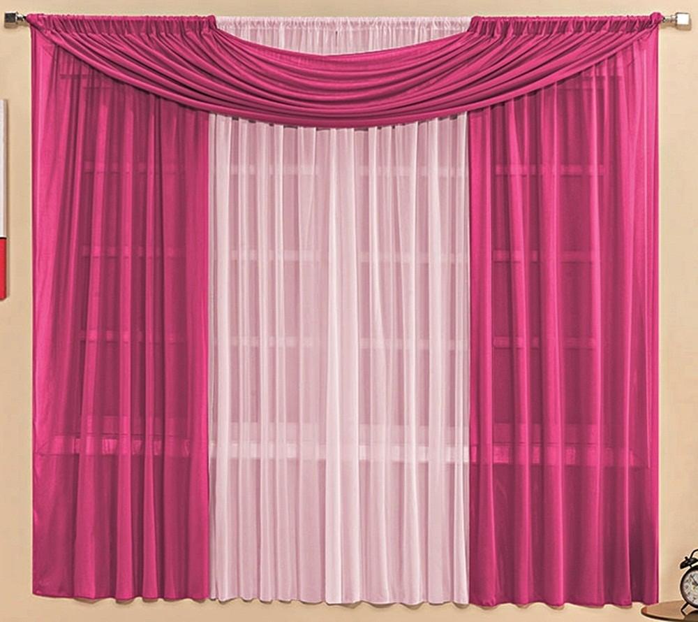 Cortina Malha Pink e Rosa com Bandô 3,00 x 1,70 para Varão Simples 2,00 Metros