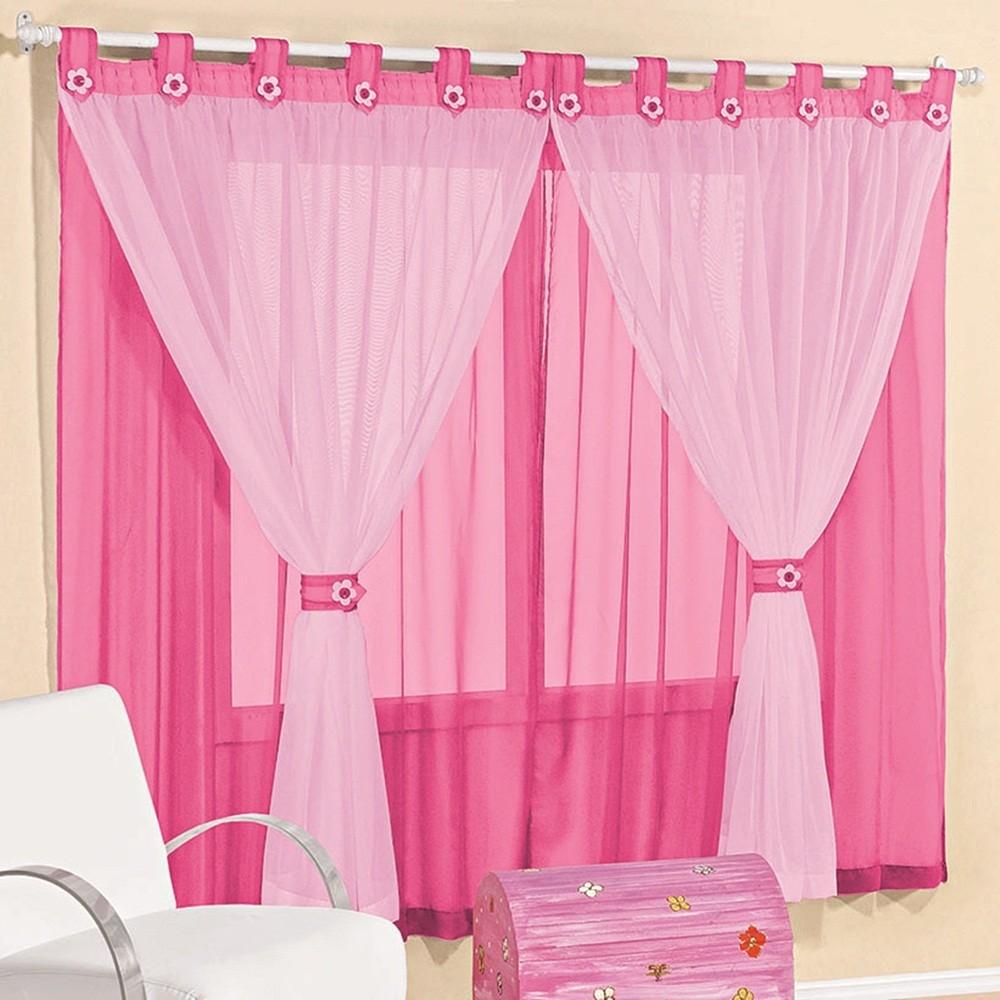 Cortina Voil Pink e Rosa com Detalhes Florzinhas 3,00 x 1,70 para Varão Simples 2,00 Metros