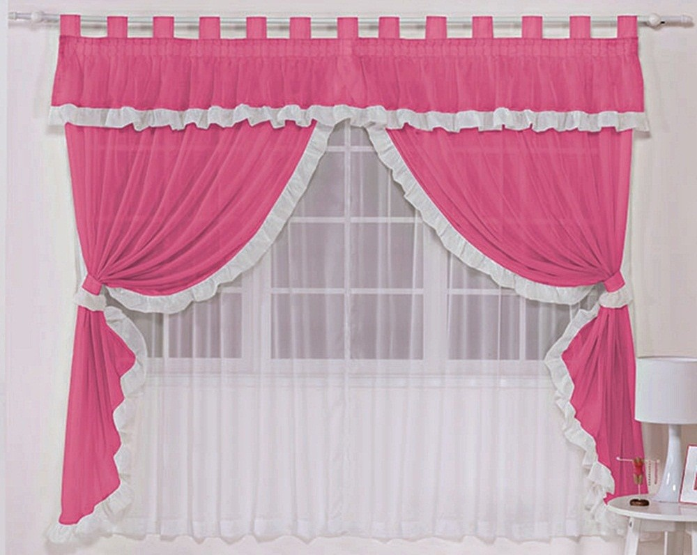 Cortina Voil Branca com Bandô Pink 3,00 x 1,70 para Varão Simples 2,00 Metros