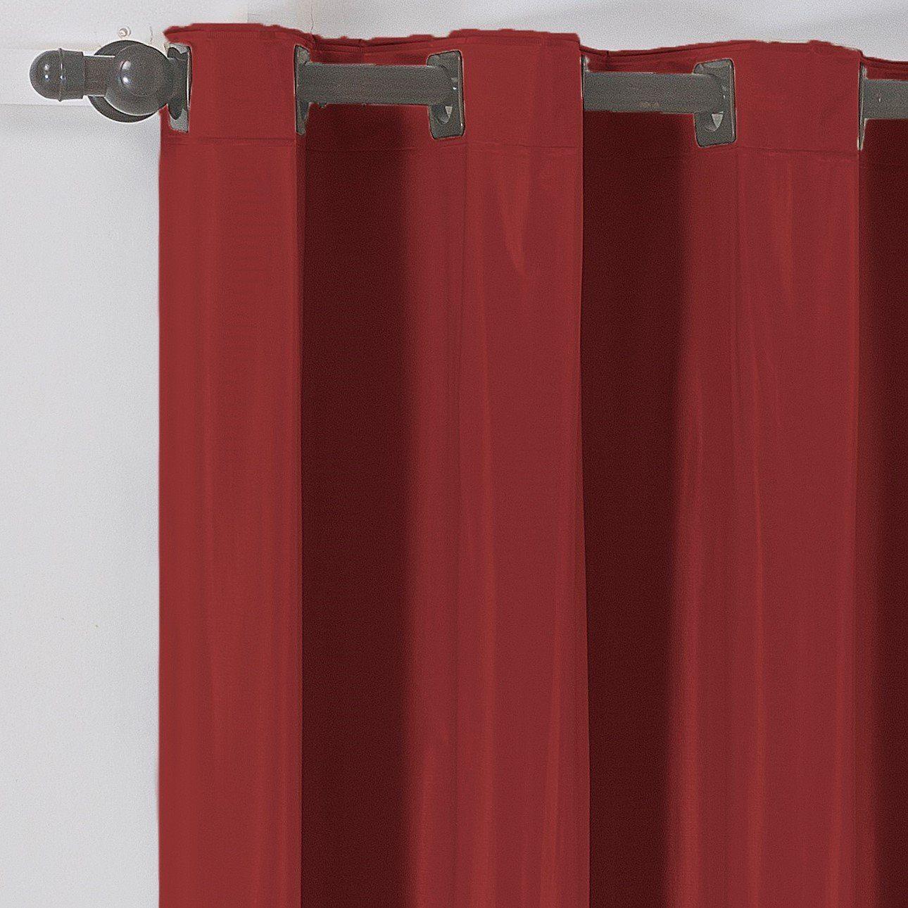 Cortina Blackout Corta Luz PVC (Plástico) Vermelha 2,80 x 1,60 para Varão Simples 2,00 Metros