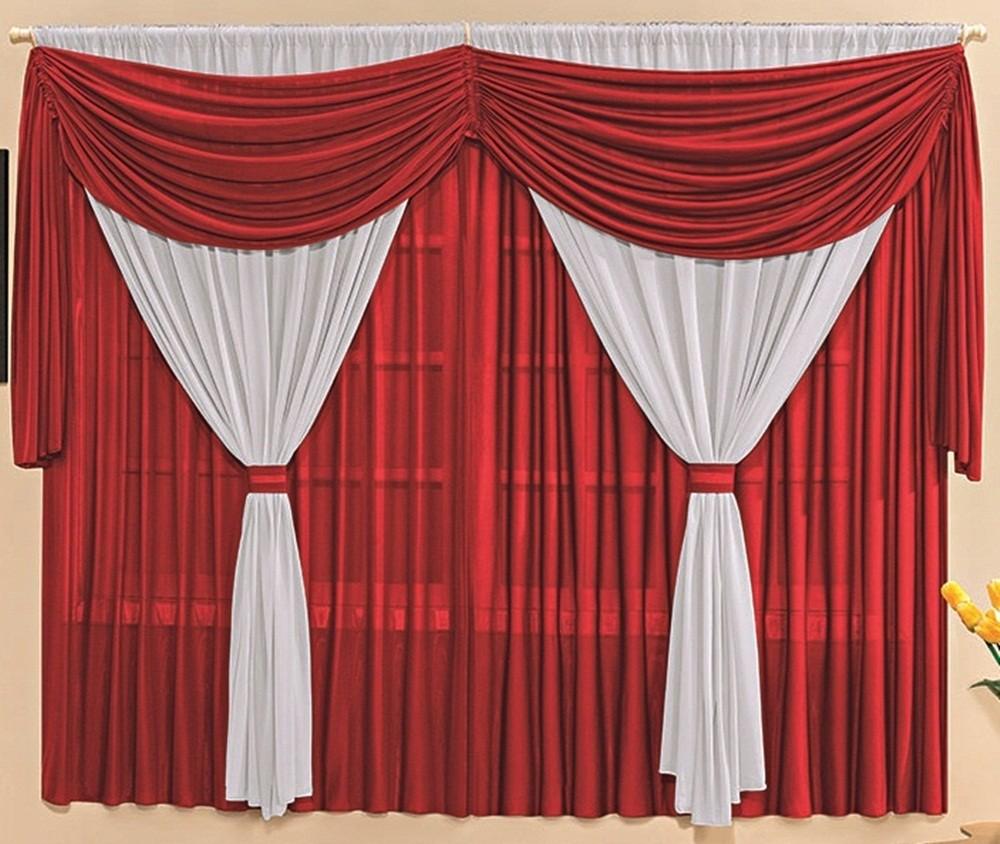 Cortina Malha Três Camadas com Bandô Vermelha e Branco 3,00 x 1,70 para Varão Simples 2,00 Metros