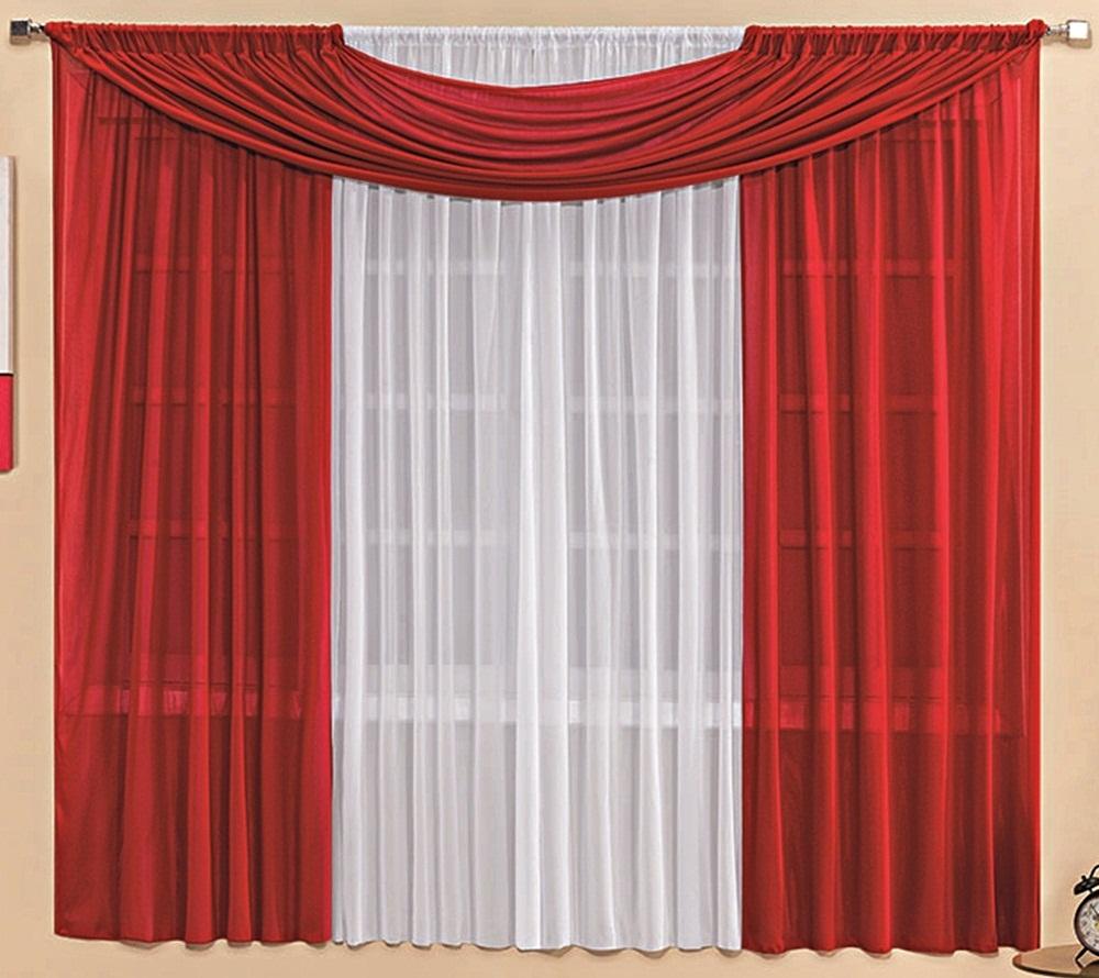 Cortina Malha Vermelha e Branca com Bandô 3,00 x 1,70 para Varão Simples 2,00 Metros