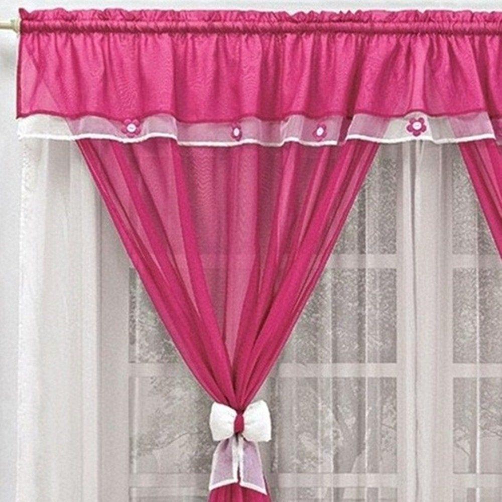 Cortina Voil Branca e Pink Laços com Bandô Florzinhas 3,00 x 1,70 para Varão Simples 2,00 Metros