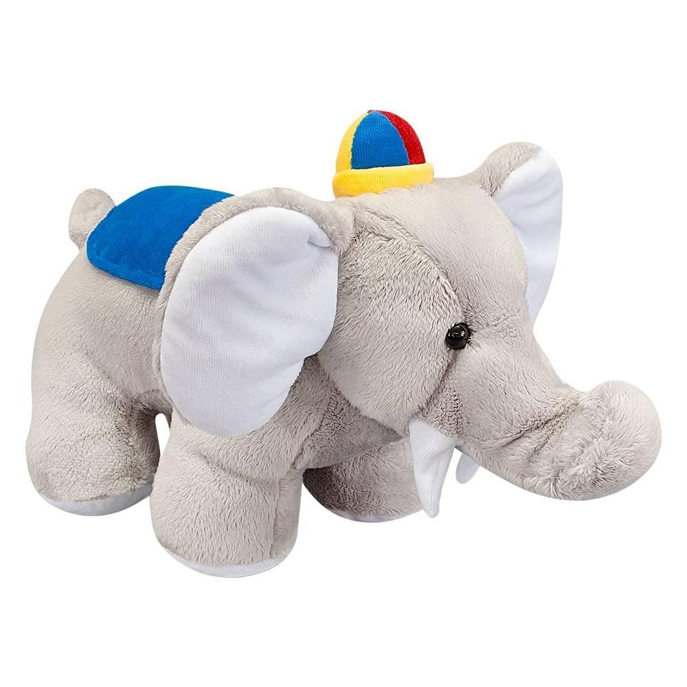 Elefante Soft Pequeno Cinza Boné Azul