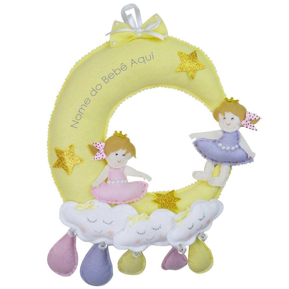 Enfeite de Porta Feltro Meninas Lua Chuva de Amor Amarelo Personalizado com Nome para Gêmeas