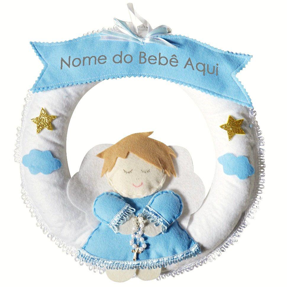 Enfeite de Porta Feltro Azul Anjinho Terço Nuvem Estrela Personalizado com Nome