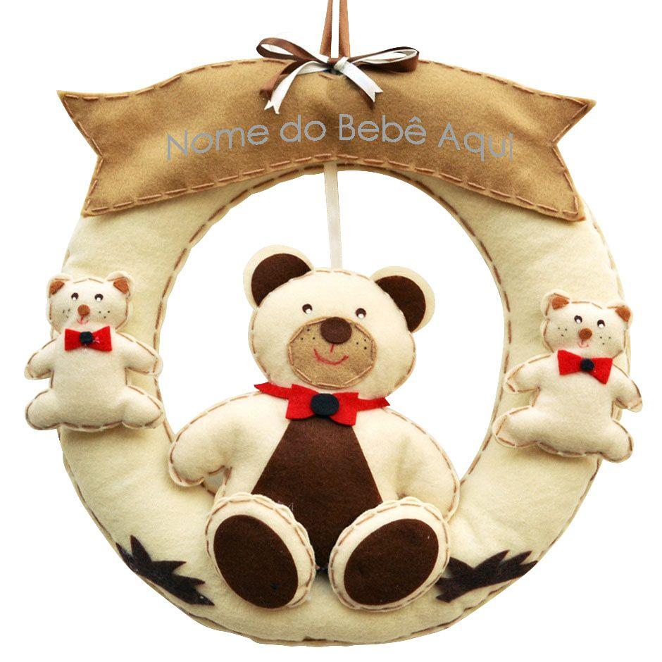 Enfeite de Porta Guirlanda Bege Irmãos Ursos Bege e Marrom Personalizado com Nome