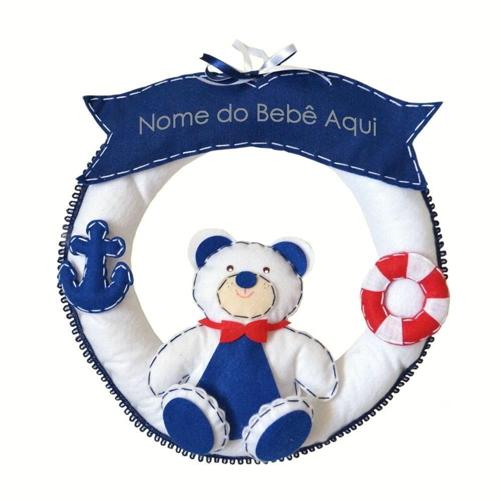 Enfeite de Porta Feltro Marinho Urso Âncora Bóia Personalizado com Nome