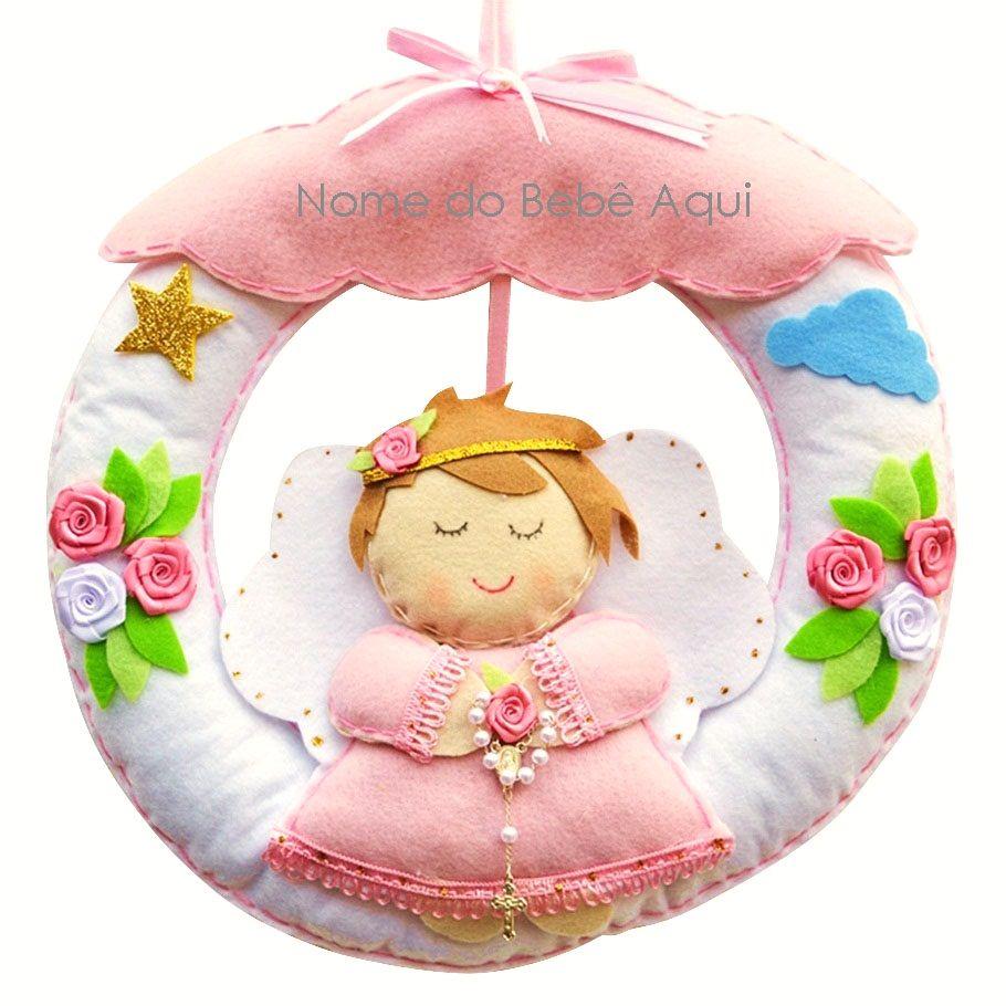 Enfeite de Porta Feltro Rosa Anjinha Terço Flor Estrela Personalizado com Nome