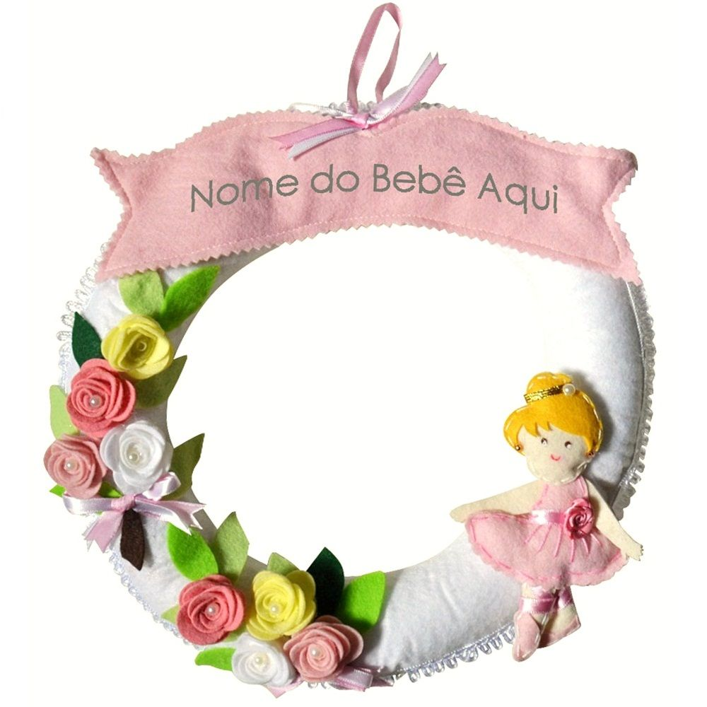 Enfeite de Porta Feltro Rosa Bailarina Flores Personalizado com Nome