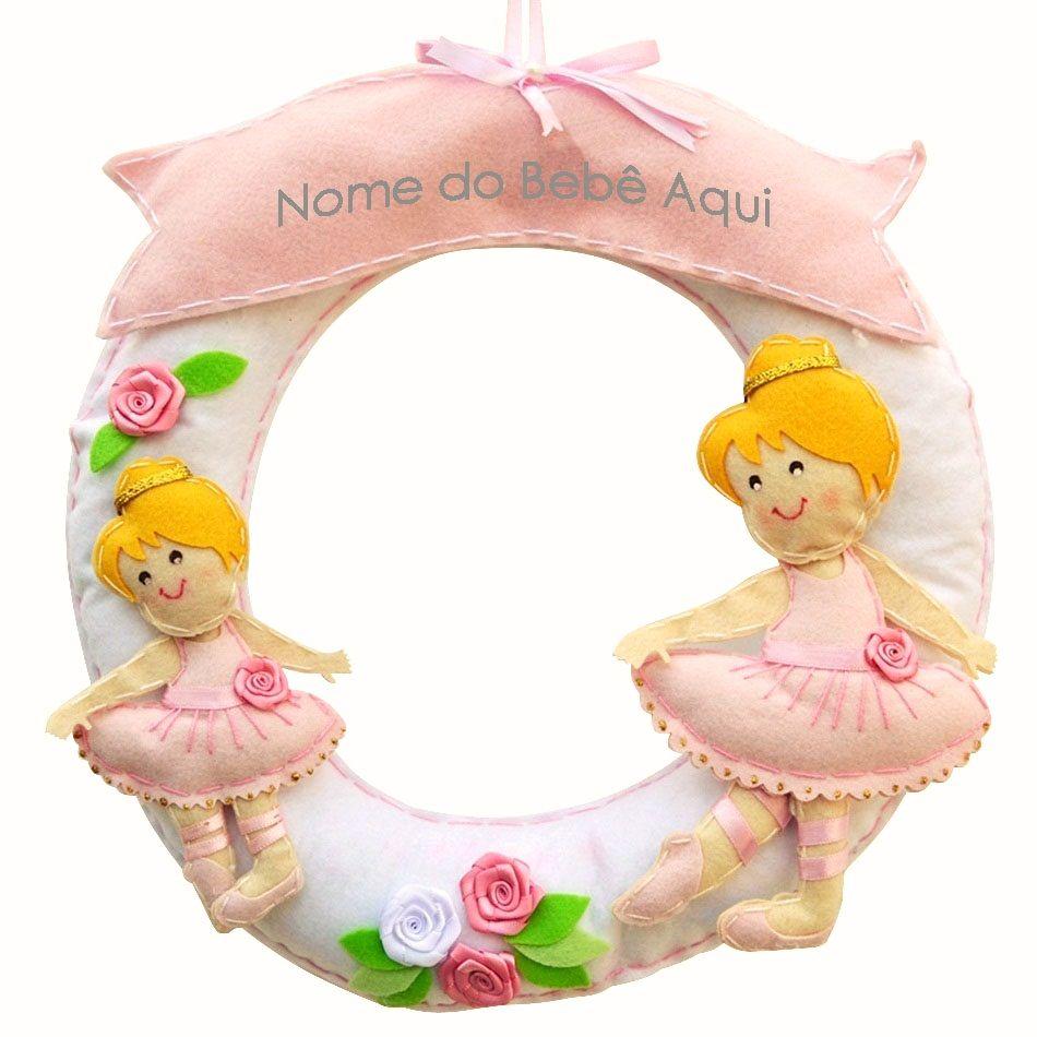 Enfeite de Porta Feltro Irmãs Bailarinas Rosa Personalizado com Nome
