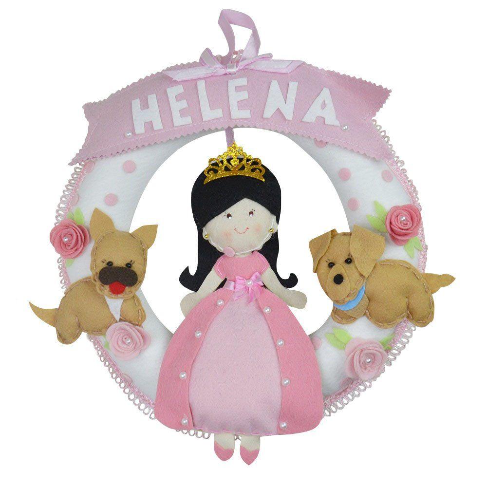 Enfeite de Porta Feltro Rosa Princesa Cachorrinhos Personalizado com Nome