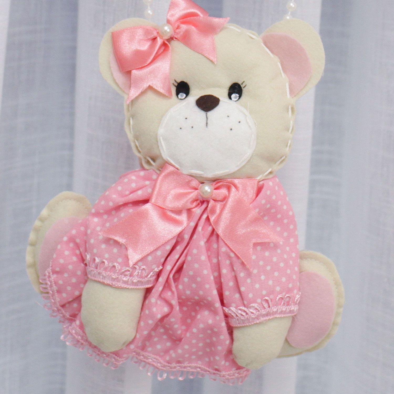 Enfeite de Porta Feltro Ursa Nuvem Rosa Personalizado com Nome