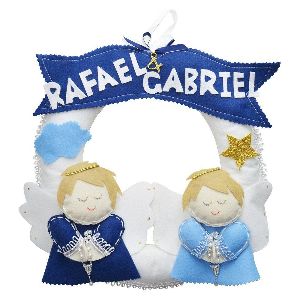Enfeite de Porta Guirlanda Feltro Irmãos Anjos Azul Personalizado com Nome