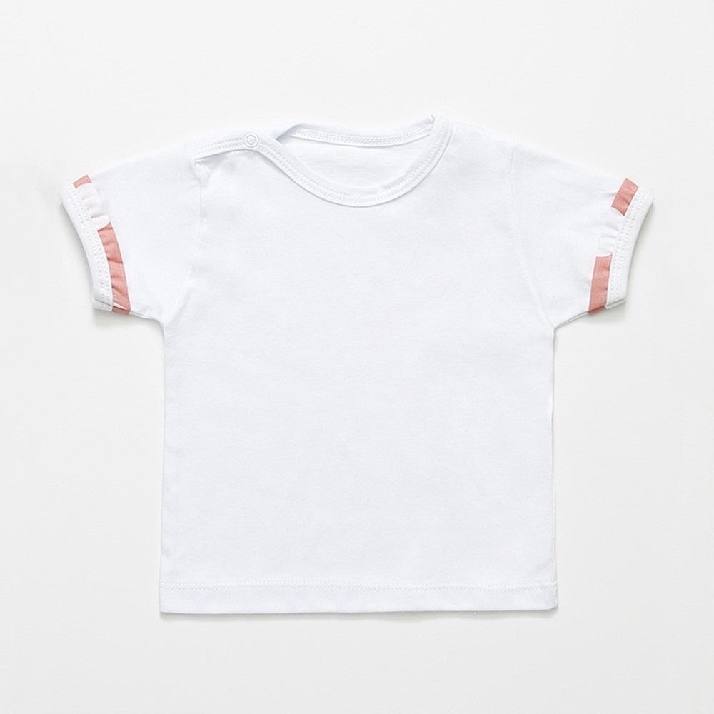 Jardineira Curta Salmão Bolas Laço com Camiseta Manga Curta