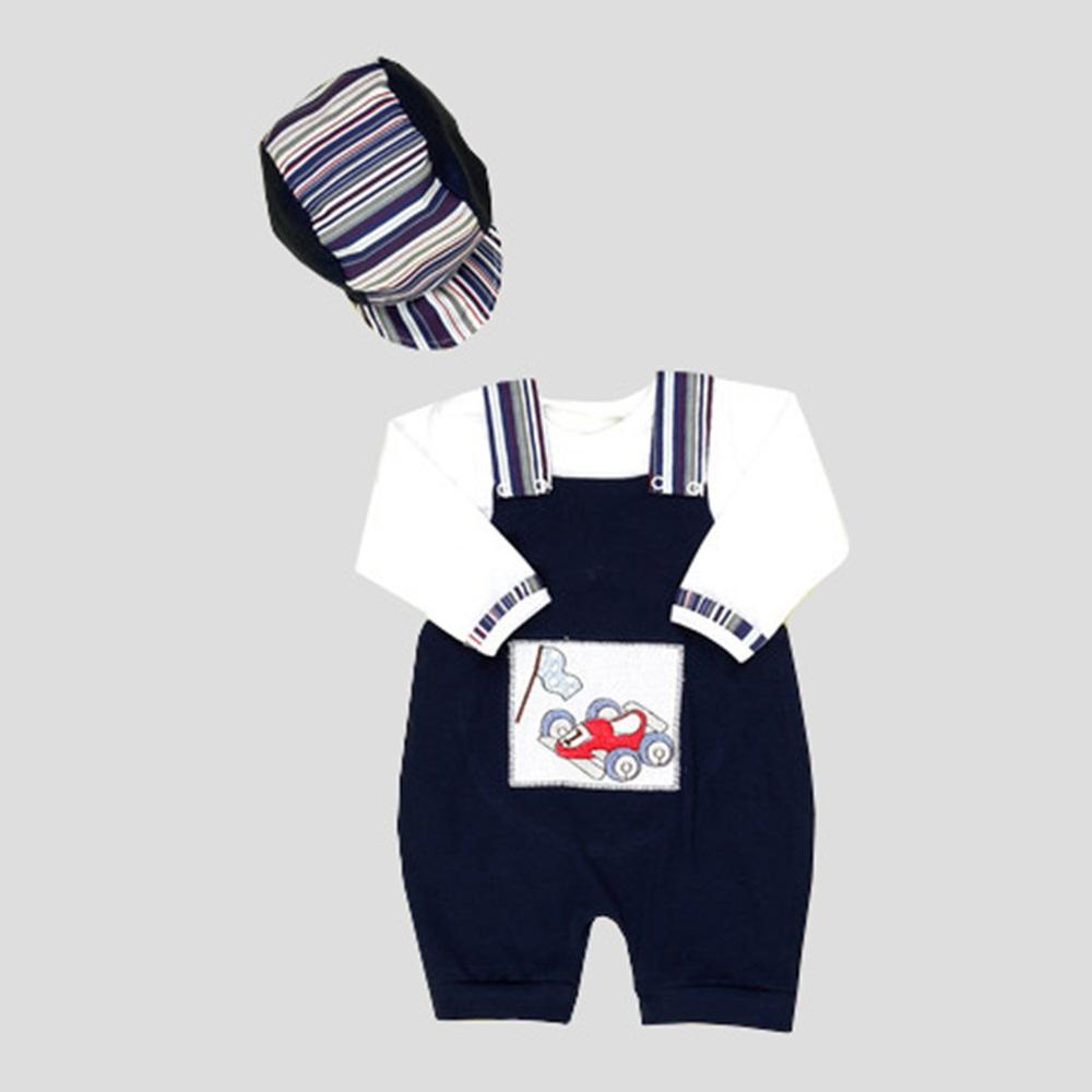 Jardineira Longa Carro Fórmula 1 com Camiseta Manga Longa e Boné