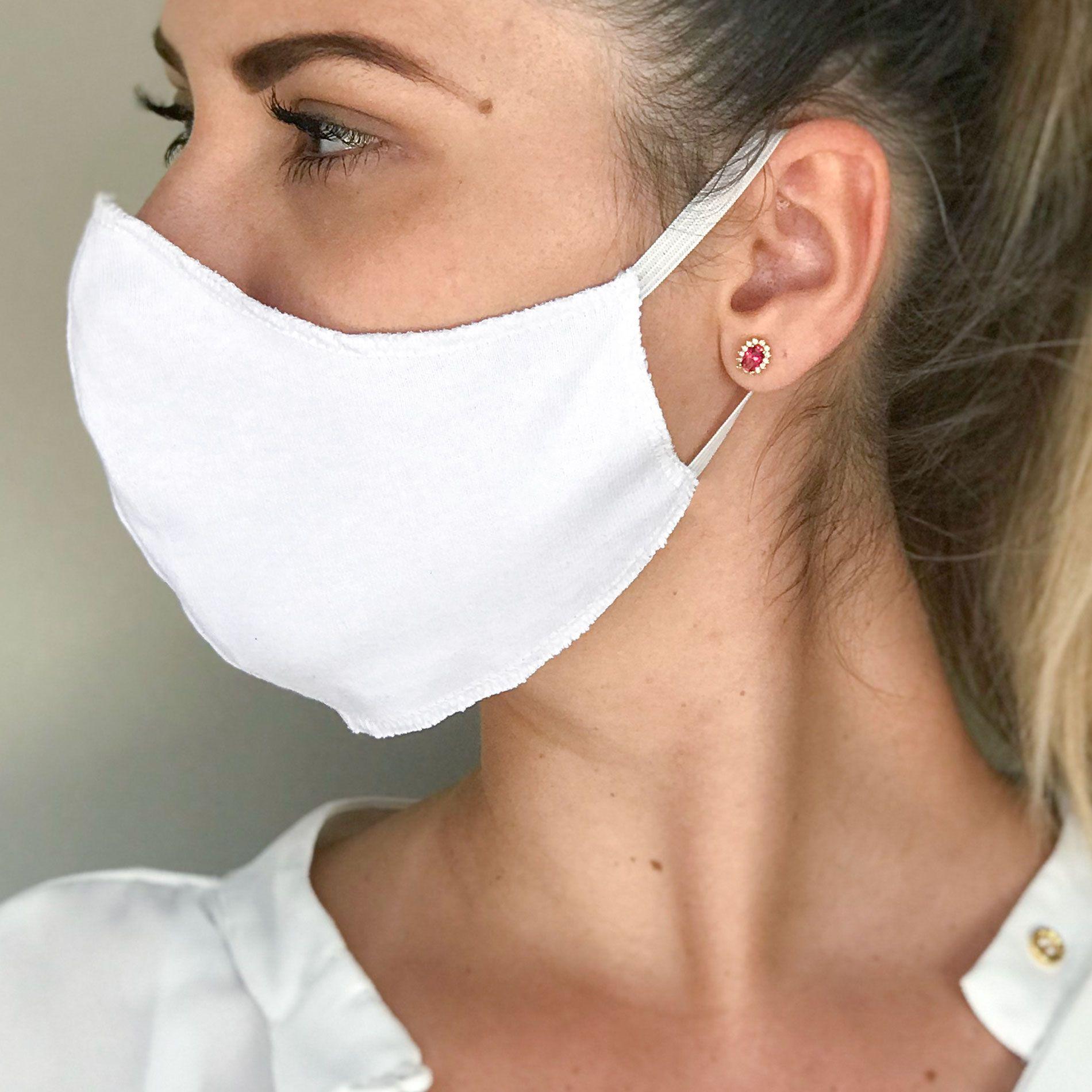 Kit 10 Peças Máscaras Descartáveis de Proteção para o Rosto TNT Gramatura 40 Dupla Branca