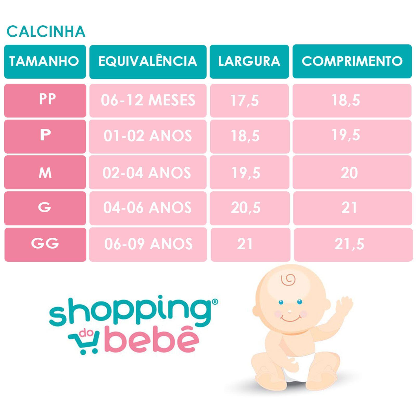 Kit 3 Peças Calcinhas Bebê e Infantil Malha Algodão Antialérgicas Verde, Branco e Pink