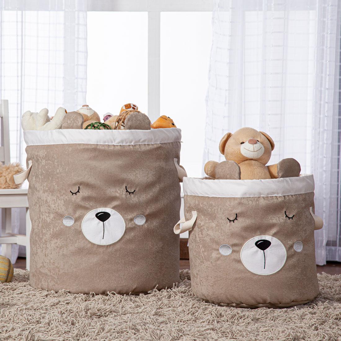 Kit 2 Peças Cestos Organizadores de Brinquedos e Roupas com Alça Suede Urso Bege e Palha