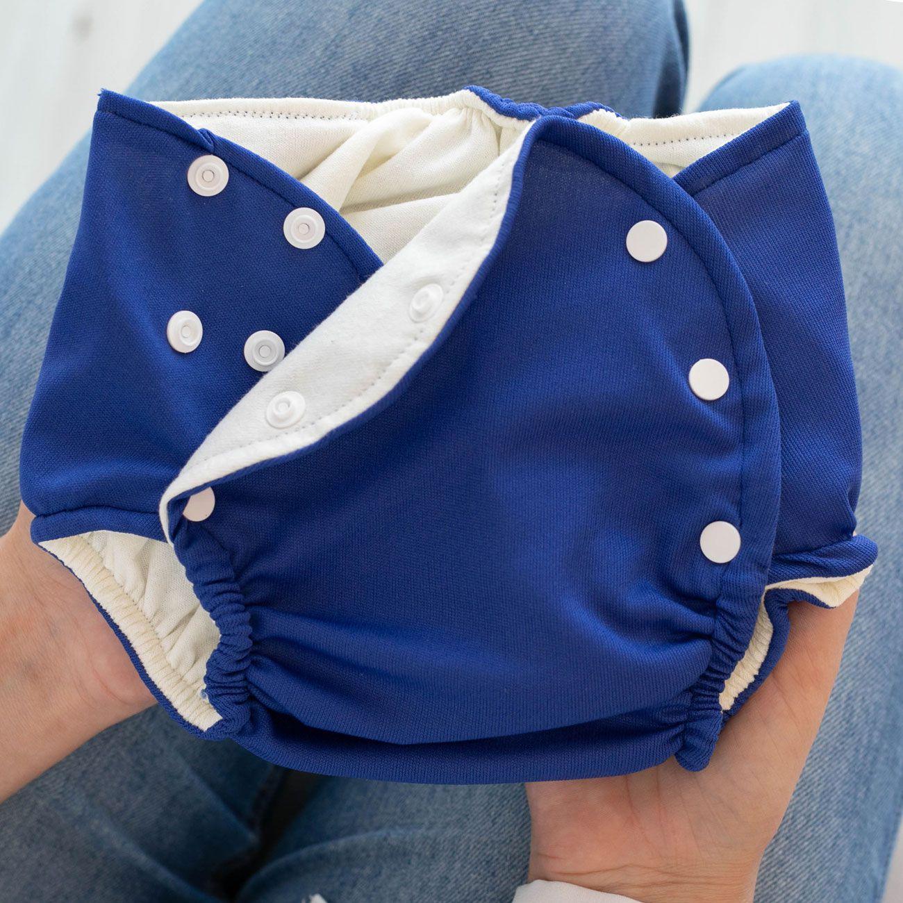 Fralda Ecológica Reutilizável com Absorvente de Pano Lavável Infantil 1 à 3 Anos Marinho
