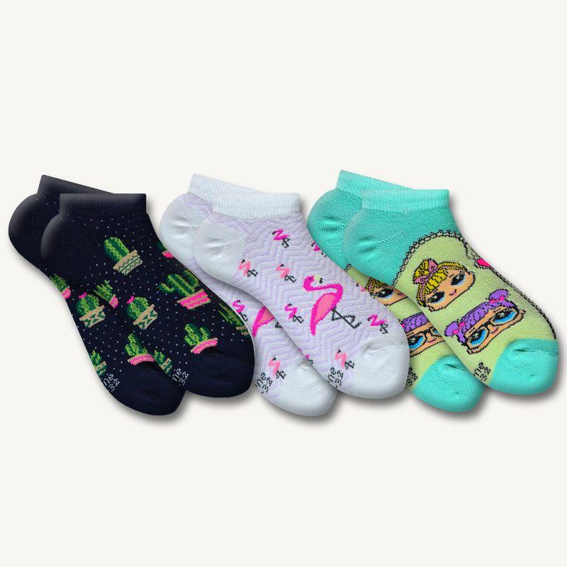 Kit 3 Pares de Meias Infantil Sene Estampadas Branco, Preto e Verde 4 à 7 Anos N. 29 ao 32