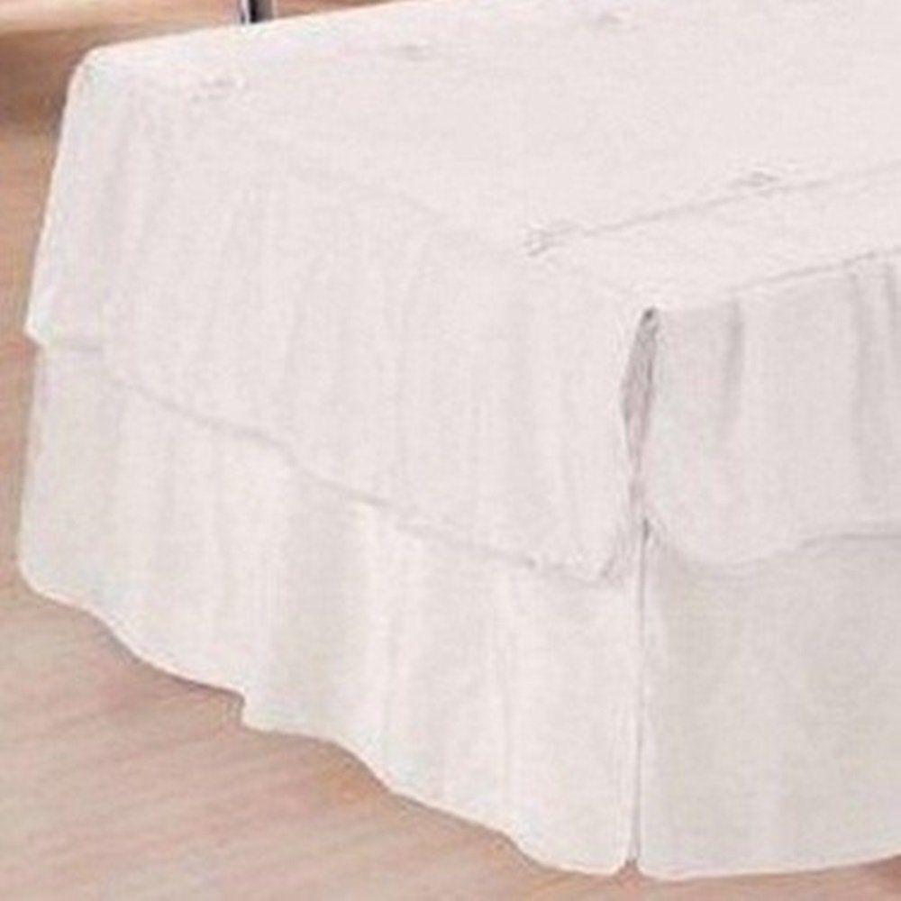 Kit 3 Peças Solteiro Colcha e Porta Travesseiro Voil Babados e Florzinhas Branco e Refil