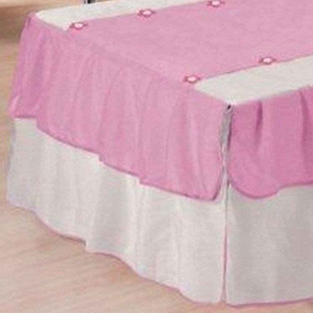 Kit 3 Peças Solteiro Colcha e Porta Travesseiro Voil Babados e Florzinhas Branco e Rosa e Refil