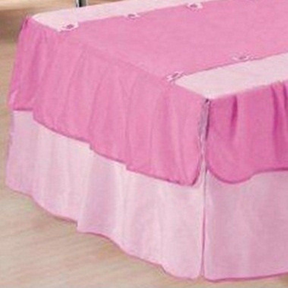 Kit 3 Peças Solteiro Colcha e Porta Travesseiro Voil Babados e Florzinhas Rosa e Pink e Refil
