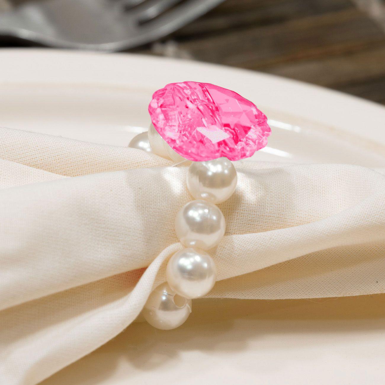 Kit 4 Peças Abraçadeira Prendedor Porta Guardanapo Pérola Pingente Cristal Pink para Mesa de 4 Lugares