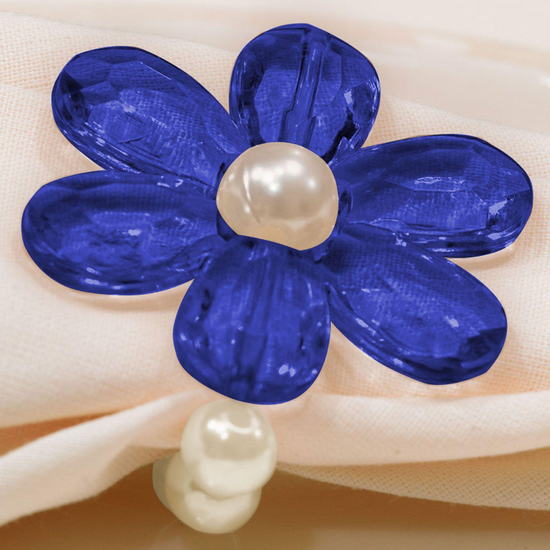 Kit 4 Peças Abraçadeira Prendedor Porta Guardanapo Pérola Pingente Flor Azul para Mesa de 4 Lugares