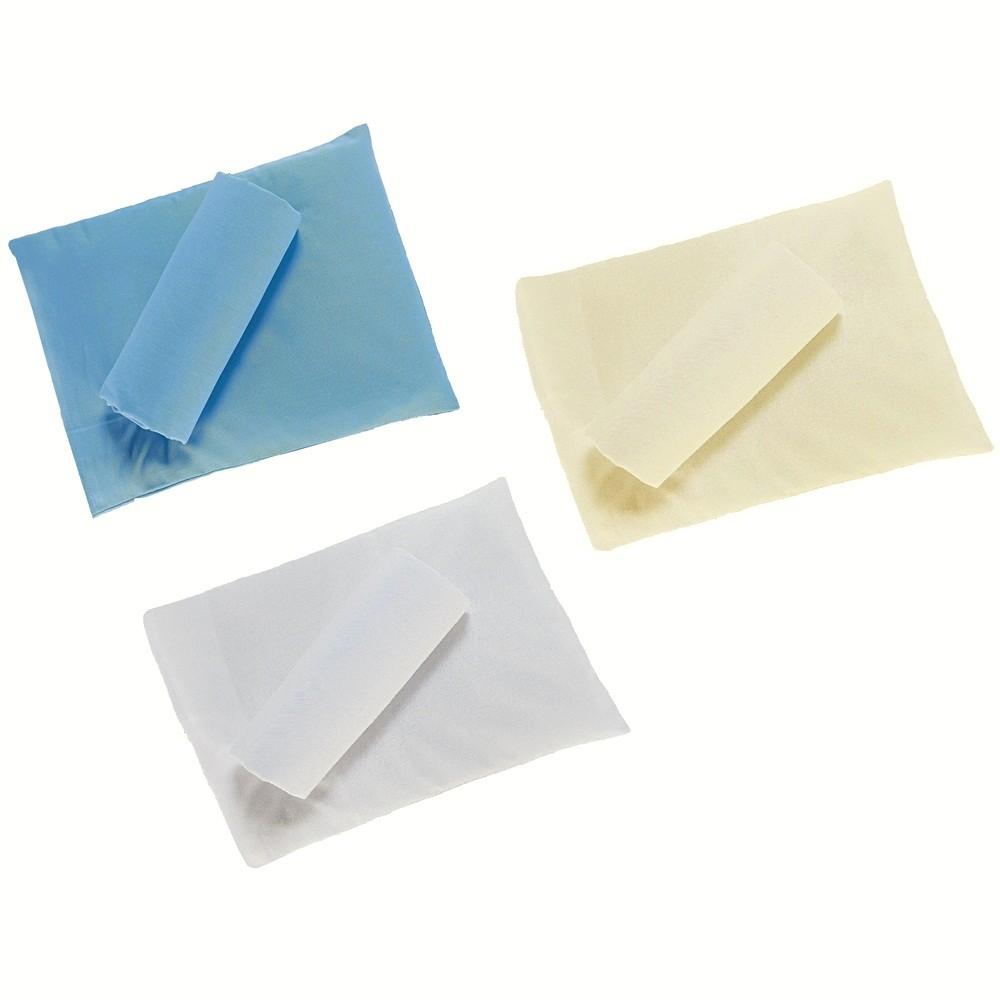 Kit 6 Peças de 3 Jogos de Lençol de Elástico com Fronha para Berço Percal Antialérgico Branco Palha e Azul