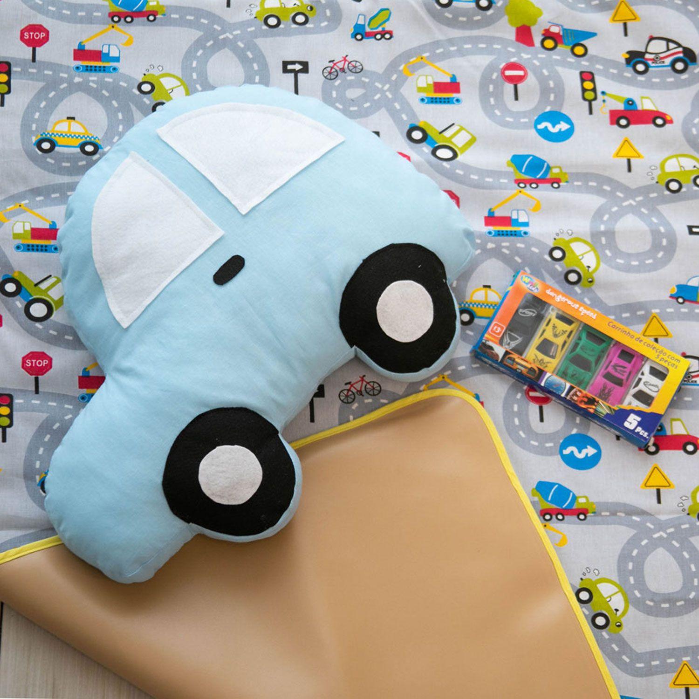 Kit 7 Peças Tapete de Atividades Pista de Carros com Carrinhos e Almofada Amarelo e Azul