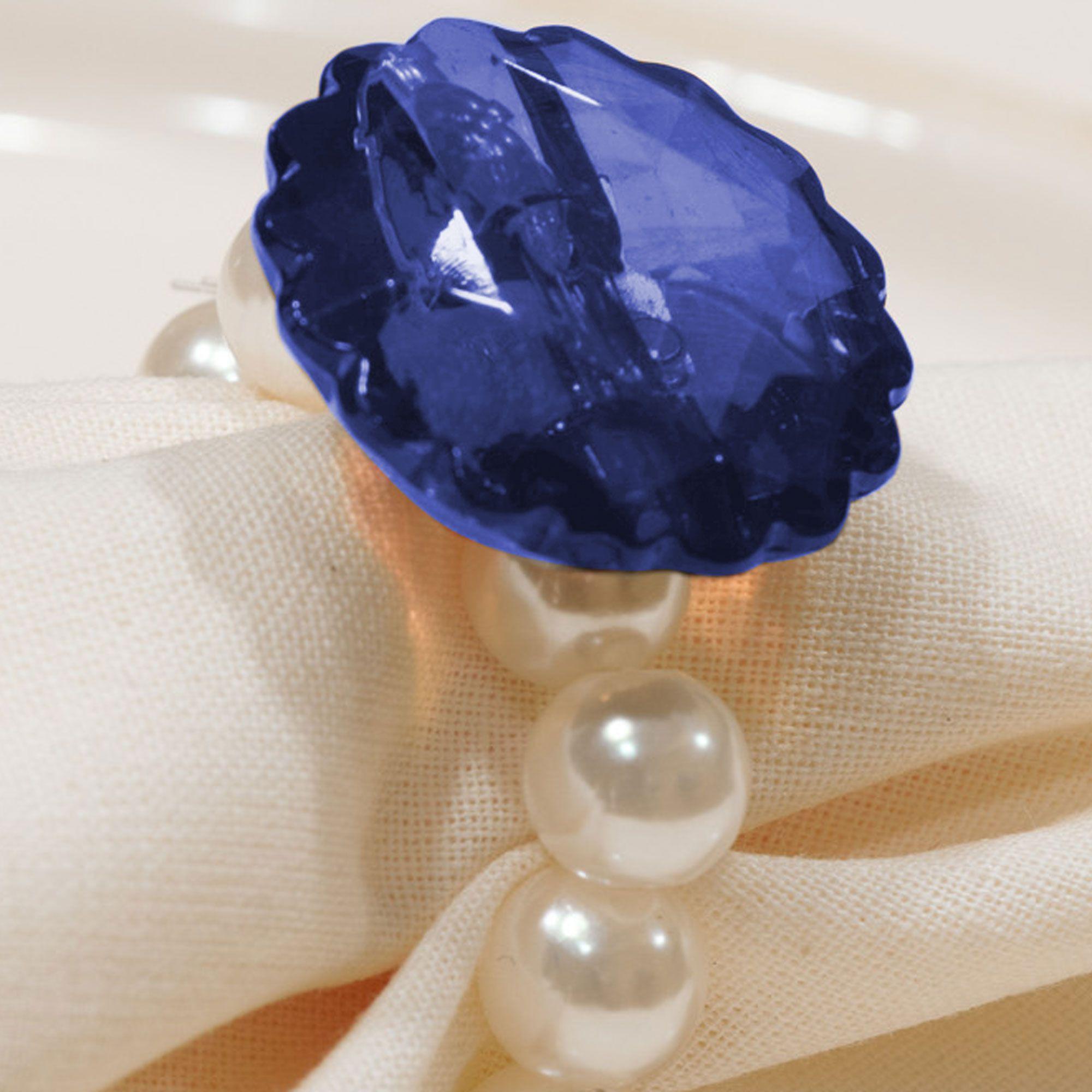 Kit 8 Peças Abraçadeira Prendedor Porta Guardanapo Pérola Pingente Cristal Azul para Mesa de 8 Lugares