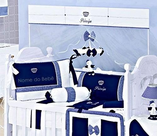 Kit Berço 8 Peças Coroa Listra Marinho e Branco Coleção Príncipe Personalizado com Nome