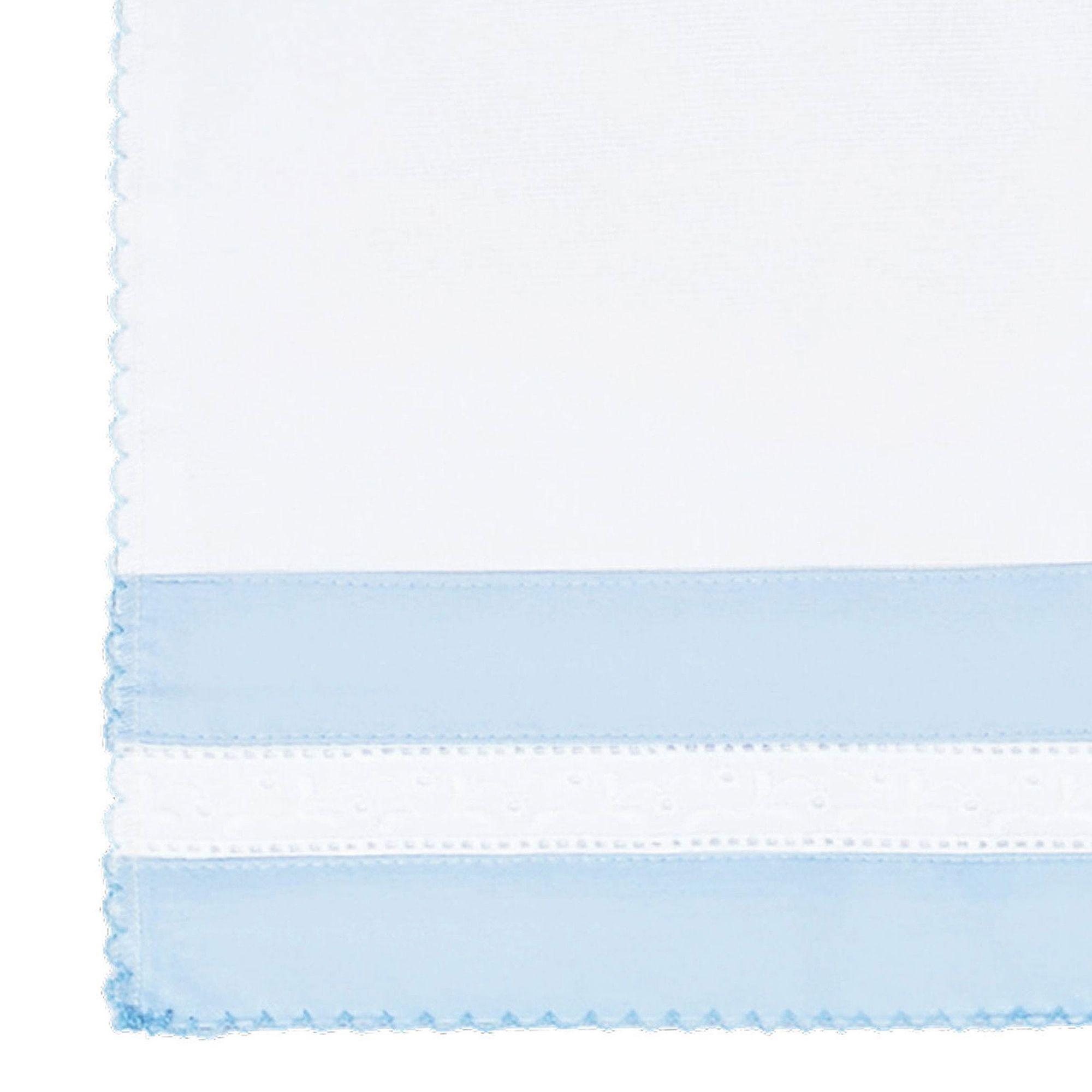 Kit Fralda de Boca (Babete) 2 Peças Percal 300 Fios Bordado Inglês e Ponto Palito Azul e Cinza Coleção Gregory