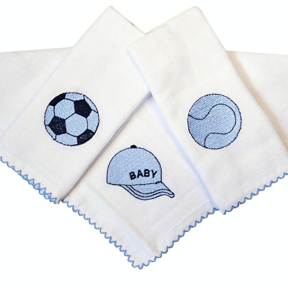 Kit Fraldas de Boca (Babete) 3 Peças Forrada Boné Bola