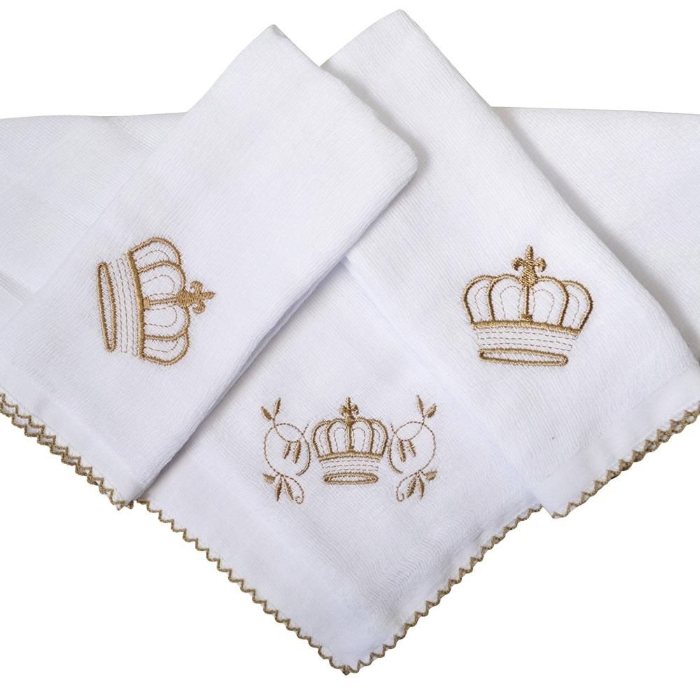 Kit Fraldas de Boca (Babete) 3 Peças Forrada Coroa